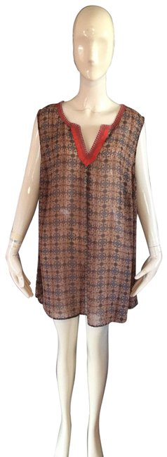 Item - Tan and Rust Blouse Size 22 (Plus 2x)
