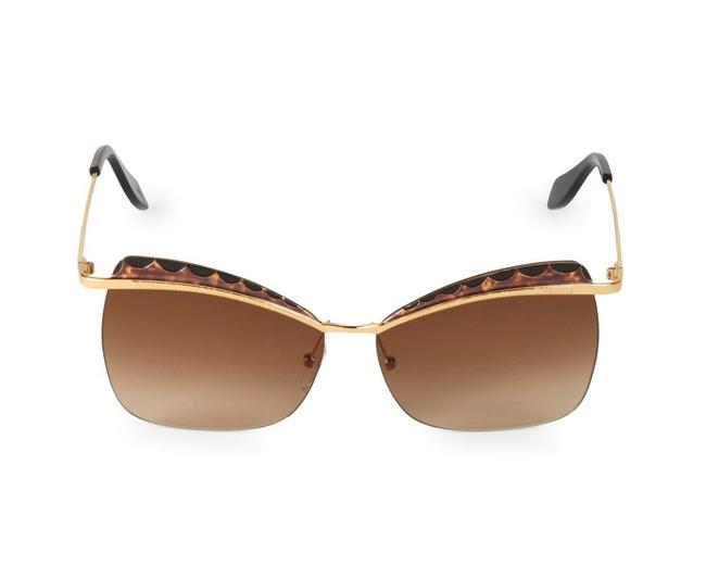 Alexander McQueen Gold and Brown Cat-eye Am0059s 008 Sunglasses Alexander McQueen Gold and Brown Cat-eye Am0059s 008 Sunglasses Image 1