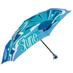 Burberry Blue Nylon Rain or Shine Print Umbrella
