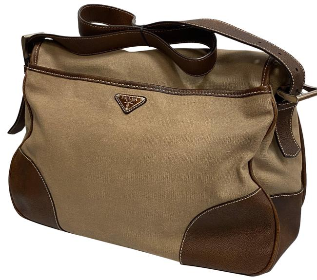 Item - Leather Trim Brown and Beige Coated Canvas Messenger Bag