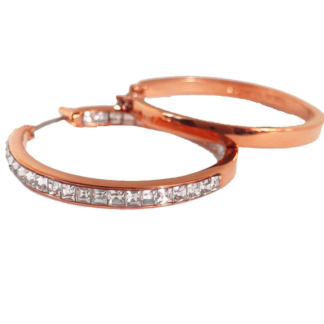 Michael Kors Rose Gold New Inside Outside Pave Hoop Earrings Michael Kors Rose Gold New Inside Outside Pave Hoop Earrings Image 1