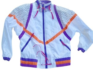 Rothschild Parachute Nylon Gaper Day 80s Ski Cropped White, Neon Brights Jacket