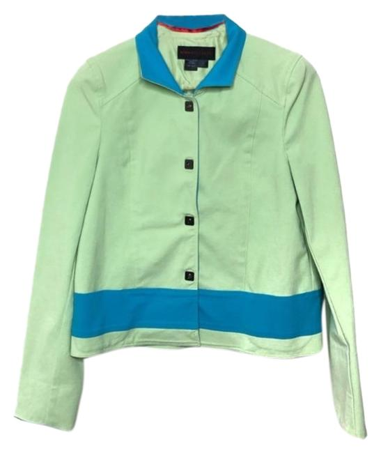 Item - Green and Blue Lime Silk Snap Button Blazer Size 2 (XS)