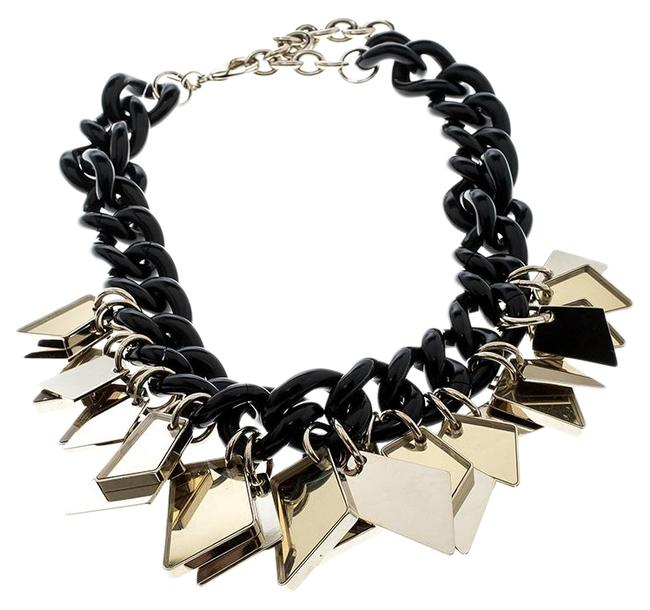 Item - Black Gold Tone Tags Resin Link Chain Necklace