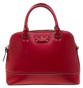 Kate Spade Fabric Leather Satchel in Red