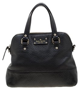 Kate Spade Fabric Leather Satchel in Black