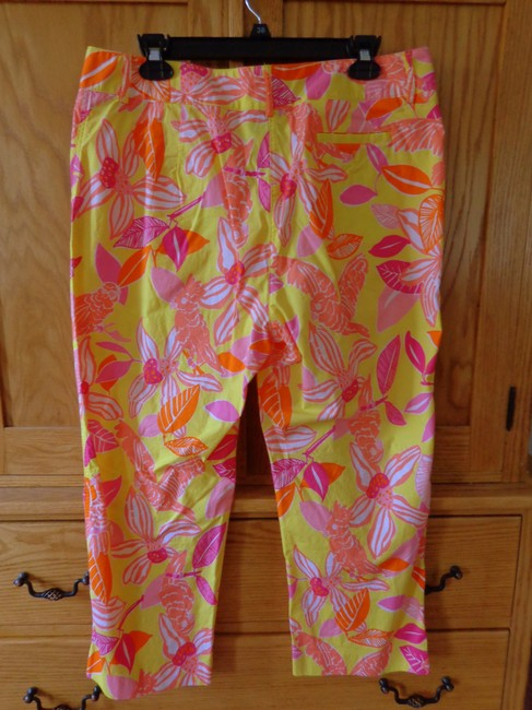 Lilly Pulitzer Tropical Orchid Capris Yellow Orange Pink Peach
