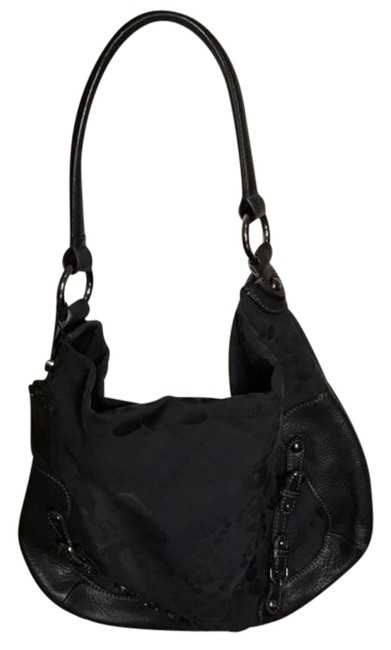 Item - Large Leather and Canvas Black Hobo Bag