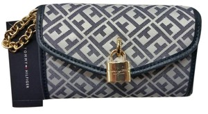 Tommy Hilfiger Monogram Chain Padlock Gold Hardware Wristlet in Navy
