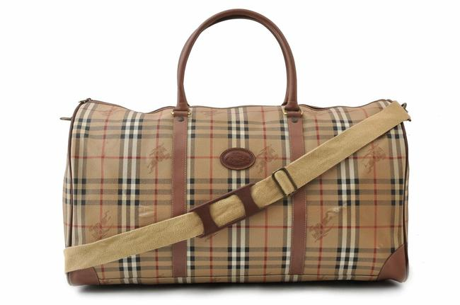 Item - Duffle Boston with Strap Nova Check 867418 Brown/Beige Coated Canvas Weekend/Travel Bag