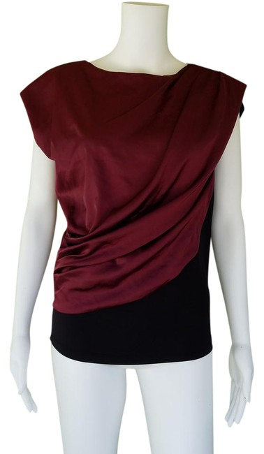 Item - Wine Black Ruched Silky 38 Small Blouse Size 4 (S)