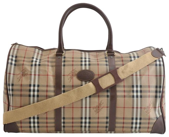 Item - Duffle Boston with Strap Nova Check 872425 Beige Coated Canvas Weekend/Travel Bag