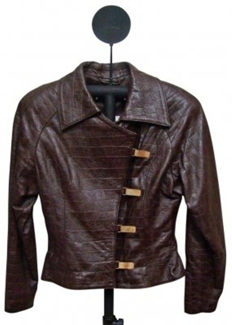 Preload https://img-static.tradesy.com/item/27031/brown-metal-snap-front-shinny-leather-jacket-size-2-xs-0-0-650-650.jpg