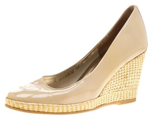 Ballin Patent Leather Wedge Rubber Leather Beige Pumps