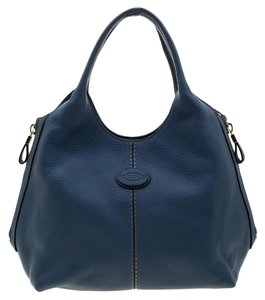Tod's Pebbled Leather Logo Tote in Blue
