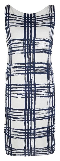 Item - Navy Blue Knits and White Abstract Checked Silk Mid-length Casual Maxi Dress Size 6 (S)