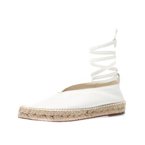Céline Leather Pointed Toe Espadrille White Flats