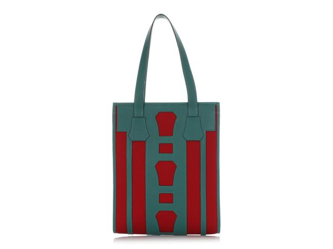 Item - Bell Petit H Red Cotton Canvas And Green Calfskin Leather Tote