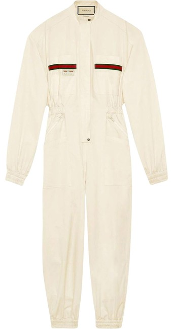 Item - Ivory Gr Cotton with Label Romper/Jumpsuit
