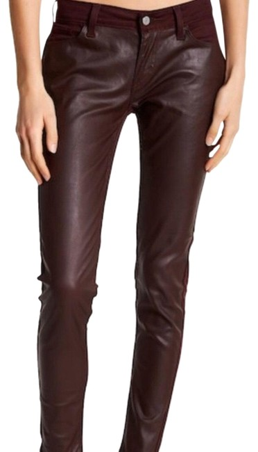 Item - Plum/Mauve Coated 535 Faux Leather Front Super Skinny Jeans Size 4 (S, 27)