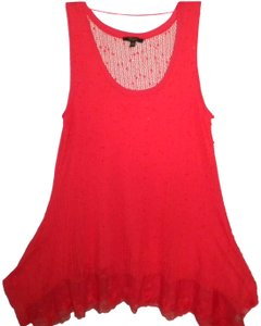 Cupio Crochet Lined Front Sequin Shark Bite Sleeveless Top Deep Coral