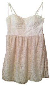 American Eagle Outfitters short dress White/Beige Summer Polka Dot Mini White on Tradesy
