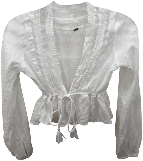 Item - White/Sheer Crop Blouse Size 4 (S)