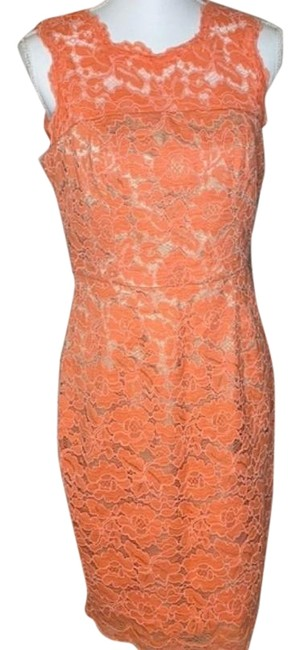 Item - Orange Pink Body-con Lace Mid-length Night Out Dress Size 8 (M)