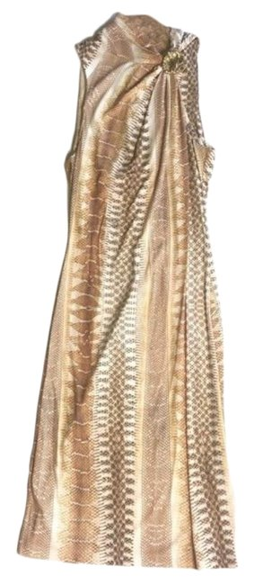 Item - Tan Brown White Mid-length Night Out Dress Size 12 (L)