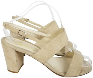 Butter Chunky Suede Strappy Ankle Strap Open Toe Beige Sandals