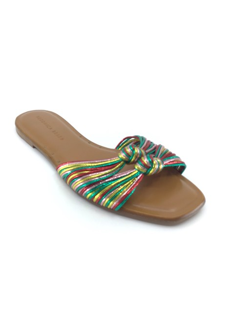 Item - Emerald Red Pink Green And Gemma Metallic Rainbow Knotted Cord Slides Sandals Size US 10 Regular (M, B)