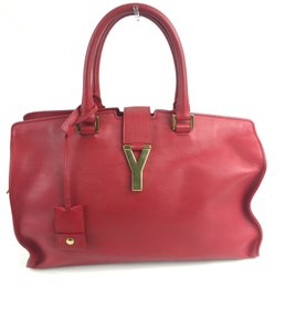 Saint Laurent Leather Gold Hardware Satchel in Red