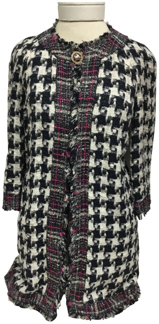 Item - Black and Cream Houndstooth Reversible Long Jacket Size 6 (S)