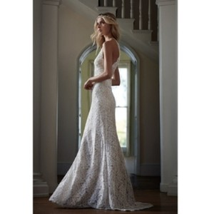 BHLDN Ivory Lace Tadashi Shoji Mina Gown Destination Wedding Dress Size 0 (XS)
