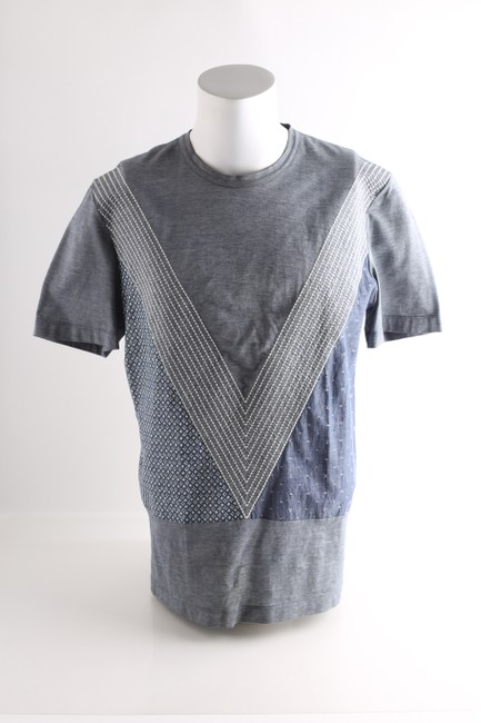 Item - Grey Monogram Patchwork Embroidery T-shirt Shirt