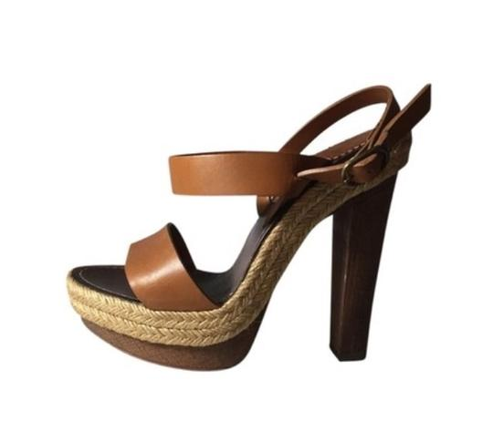 Christian Louboutin Espadrille Leather Wood Tall Tan, brown, nude Platforms