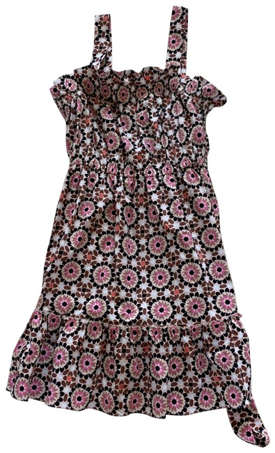 Item - Pink White Brown Black Mosaic Floral Poplin Mid-length Cocktail Dress Size 16 (XL, Plus 0x)