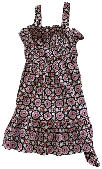Item - Brown Pink White Black Mosaic Floral Poplin Mid-length Cocktail Dress Size 16 (XL, Plus 0x)
