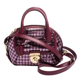 Salvatore Ferragamo Satin Sequin Leather Satchel in Purple