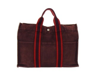 Hermès Vintage Canvas Tote in Maroon Red