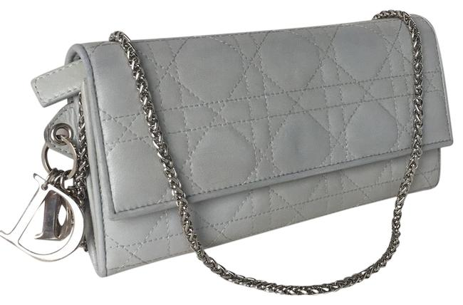 Item - Cannage Wallet On The Chain Gray Leather Cross Body Bag