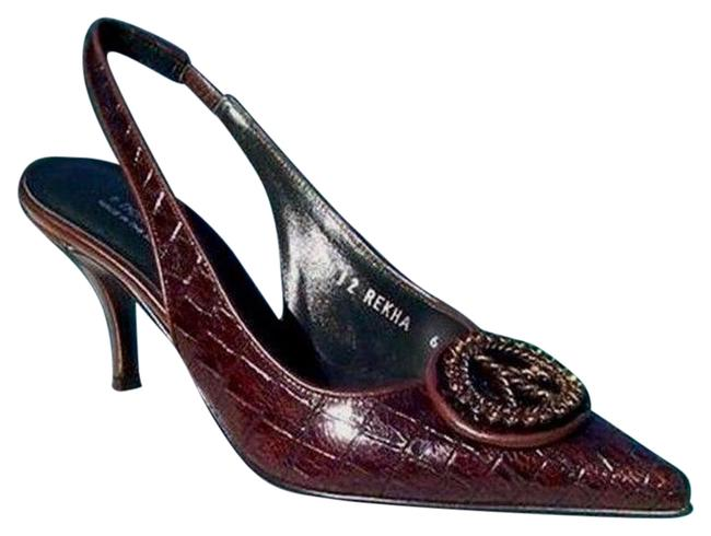 Item - Brown Gator Leather New Peace Sign Signature Pumps Size US 5.5 Regular (M, B)