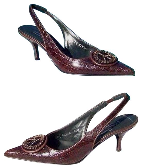 Item - Brown Gator Leather New Peace Sign Signature Pumps Size US 6 Regular (M, B)