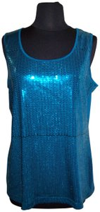 Notations Sequins Stretch Crew Shiny Smooth Top Blue