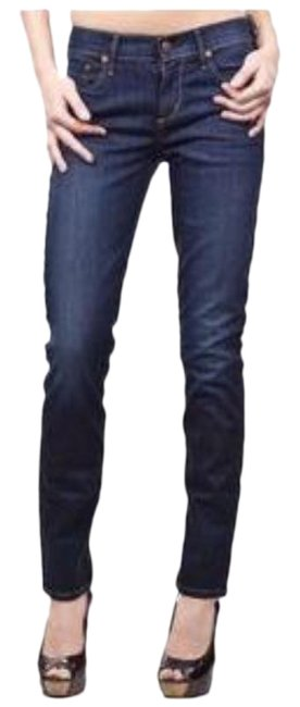 Item - Blue Dark Rinse Thompson Medium Cropped Skinny Jeans Size 24 (0, XS)