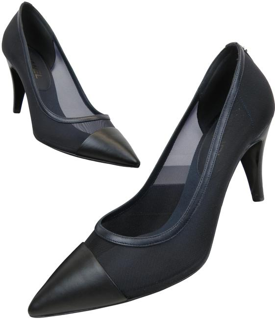 Item - Blue G29708 Mesh Cc Logo Pointy Cap Toe Classic Pumps Size EU 39.5 (Approx. US 9.5) Regular (M, B)
