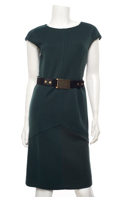 Item - Green W Wool W/ Belt 40 Mid-length Work/Office Dress Size 4 (S)