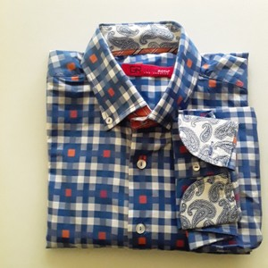 Georg Roth Los Angeles Button Down Shirt Medium blue with orange highlights