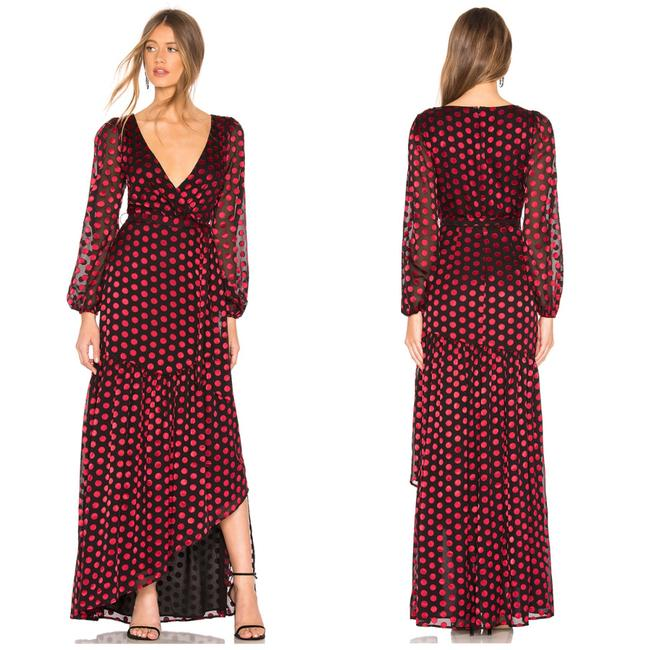 Item - Red & Black Augustus Sleeve Polka Dot Gown Long Cocktail Dress Size 4 (S)