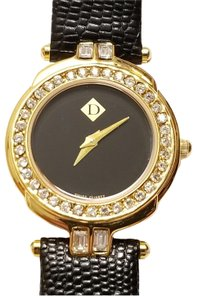 Diamonique Diamonique Gold Tone Quartz Watch Leather Strap 2 Jewels